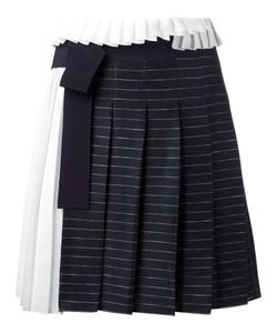 Victoria, Victoria Beckham | Victoria Victoria Beckham Striped Pleated Skirt 10 Linen/Flax/Cotton/Polyester/Silk