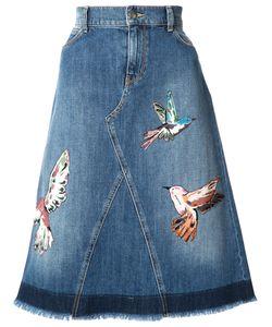 Red Valentino | Bird Patches Denim Skirt 42 Cotton