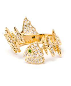 KAMUSHKI | 18k Diamond And Sapphire Knuckle Ring