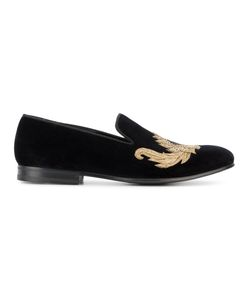 Alexander McQueen | Embroide Loafers 43 Velvet/Metal/Leather