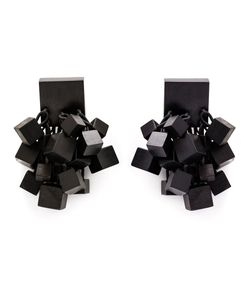 MONIES | Hanging Cube Clip-On Earrings