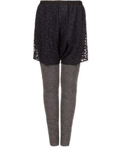 PONTI | Lace Overlay Knit Trousers