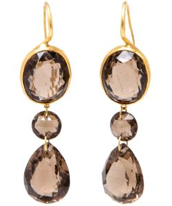 MARIE HELENE DE TAILLAC | 22kt Drop Smokey Quartz Earrings