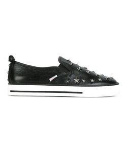 Red Valentino | Star Studded Slip-On Sneakers 37 Leather/Metal/Rubber/Cotton