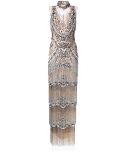 Marchesa | Beaded Gown 6 Silk/Nylon/Spandex/Elastane