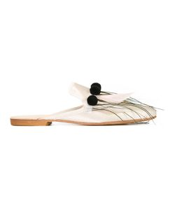 GIA COUTURE | Venux Slippers 37 Leather/Wood/Nylon/Feather