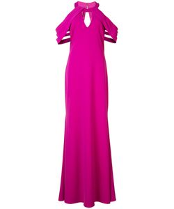 Badgley Mischka | Pleated Cut-Out Sleeves Gown 8 Polyester/Spandex/Elastane