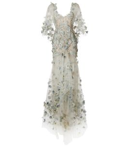 Marchesa | Feather Embroide Fishtail Gown 4 Silk/Polyamide/Spandex/Elastane