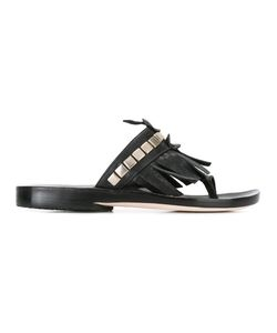 CALLEEN CORDERO | Studded Fringed Sandal 8.5 Calf Leather/Leather