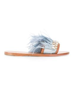 Miu Miu | Jewelled Feather Detail Sandals Size 39.5 Feather
