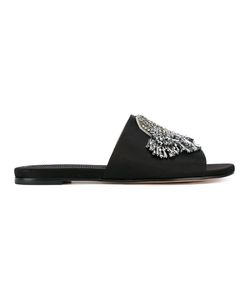 Rochas | Crystal Embellished Slides Womens Size 38 Silk/Pvc/Leather
