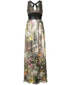 Monique Lhuillier   Плиссированное Платье С Цветочным Узором