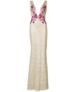 Marchesa Notte | Платье В Пол С Цветочным Мотивом