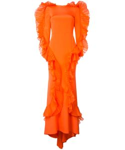 CHRISTIAN SIRIANO | Long Ruffle Trim Dress