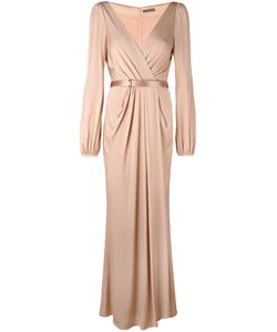 Alexander McQueen | Ruched Wrap Long Dress Silk/Calf