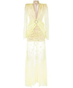 Alessandra Rich | Long Sleeve Lace Gown Womens Size 40 Cotton/Polyamide/Silk/Spandex/Elastane