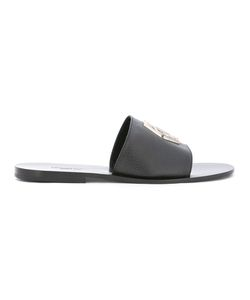 Philipp Plein | Logo Slip-On Sandals 42 Leather