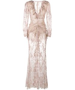 Alessandra Rich | Ruched Lace V-Neck Dress Silk/Polyamide/Spandex/Elastane/