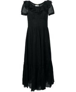 Saint Laurent | Расклешенное Платье С Рюшами