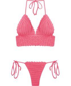 SKINBIQUINI | Pattern Knit Halterneck Bikini Set