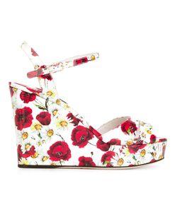 Dolce & Gabbana | Сандалии На Танкетке С Принтом Маков И Ромашек