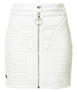 Philipp Plein | Stitched Panel Mini Skirt Small Acetate/Polyester/Lamb