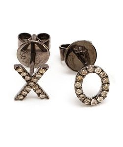 ROSA DE LA CRUZ | 18k Oxidised And Diamond Xo Earrings