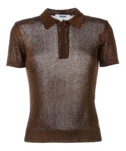 MSGM | Вязаная Рубашка-Поло С Эффектом Металлик