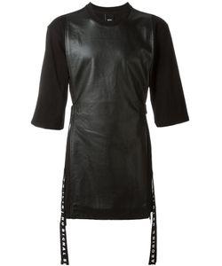 D-GNAK   Longline Leather Panel T-Shirt