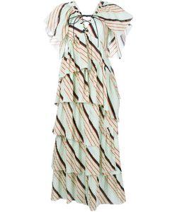 Sonia Rykiel | Длинное Многоярусное Платье В Полоску