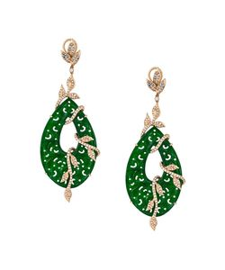 GEMCO | Carved Jade Drop Diamond Earrings
