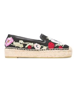 Alexander McQueen | Embroide Espadrilles 38 Rubber/Raffia/Leather/Polyester