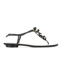 Rene' Caovilla | René Caovilla Embellished Sandals 37 Crystal/Plastic/Leather/Leather