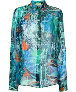 Versace Jeans | Sheer Patterned Shirt 44 Silk/Polyamide