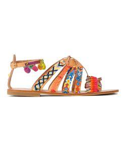 ELINA LINARDAKI | Hula Hoop Sandals 36 Cotton/Calf Leather