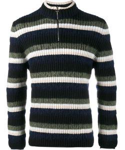 HELEN LAWRENCE | Striped Half-Zip Jumper Large Lambs Wool/Wool/Mohair/Polyamide