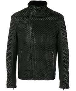 Emporio Armani | Perforated Stud Jacket 48 Lamb Skin/Cotton/Spandex/Elastane