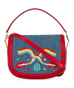 Olympia Le-Tan | Smoking Lips Embroide Carson Shoulder Bag Cotton/Calf