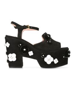 BOUTIQUE MOSCHINO | Embellished Platform Sandals 40 Polyamide/Suede/Leather