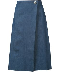 Carolina Herrera | Denim Wrap Skirt 8 Silk/Cotton