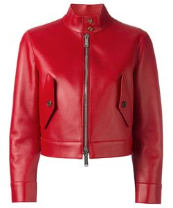 Dsquared2 | Cropped Biker Jacket 44 Leather/Viscose/Polyimide/Spandex/Elastane