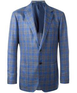 Kiton | Woven Check Blazer 54 Silk/Linen/Flax/Wool