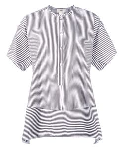 Ports | 1961 Collarless Shift Striped Shirt 46 Cotton