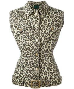 JEAN PAUL GAULTIER VINTAGE   Leopard Print Sleeveless Denim Jacket Size