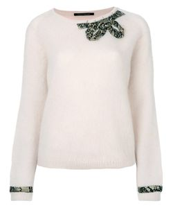 Luisa Cerano | Bow And Cuff Embellished Sweater