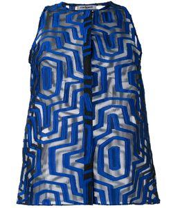 Cacharel   Sheer Geometric Pattern Shirt 40 Silk/Polyester/Nylon