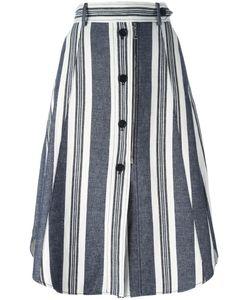 SportMax | Striped Buttoned A-Line Skirt 44 Cotton/Linen/Flax
