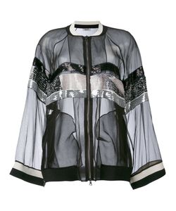 Aviù | Sheer Sequin Stripe Bomber Jacket
