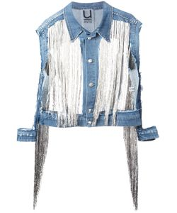 Aviù | Cut-Out Detail Fringed Denim Jacket Size Small