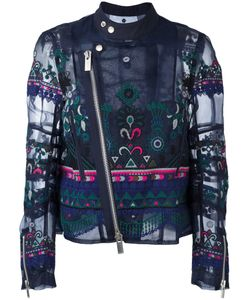 Sacai | Tribal Lace Embroide Biker Jacket Ii Polyester/Cotton